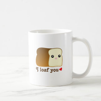 I loaf you kawaii bread funny cartoon food pun coffee mug