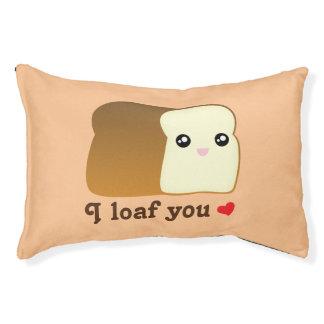 I Loaf You Kawaii Bread Funny Cartoon Food Pun Pet Bed