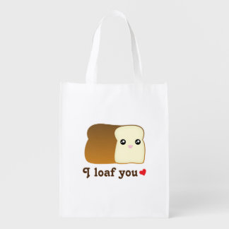 I Loaf You Kawaii Bread Funny Cartoon Food Pun Reusable Grocery Bag