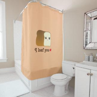 I Loaf You Kawaii Bread Funny Cartoon Food Pun Shower Curtain