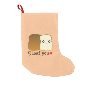 I Loaf You Kawaii Bread Funny Cartoon Food Pun Small Christmas Stocking