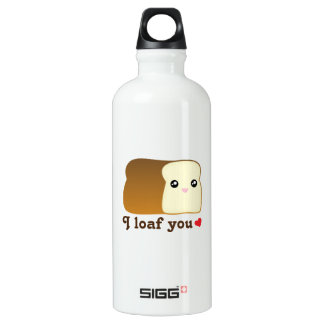 I Loaf You Kawaii Bread Funny Cartoon Food Pun Water Bottle