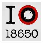 I Love 18650 Li-Ion Batteries Poster