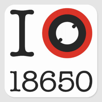 I Love 18650 Li-Ion Batteries Square Sticker
