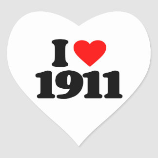 I LOVE 1911 HEART STICKER