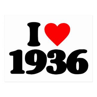 I LOVE 1936 POSTCARD