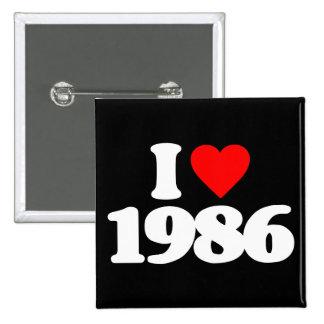 I LOVE 1986 15 CM SQUARE BADGE