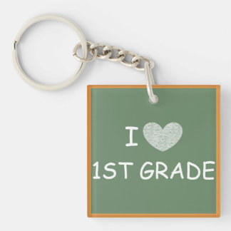 I Love 1st Grade Square Acrylic Key Chains