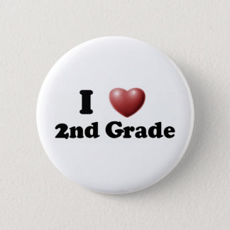I Love 2nd Grade 6 Cm Round Badge
