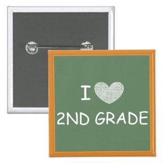 I Love 2nd Grade 15 Cm Square Badge