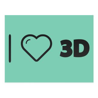 I Love 3d Technology Postcard