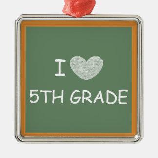 I Love 5th Grade Silver-Colored Square Decoration