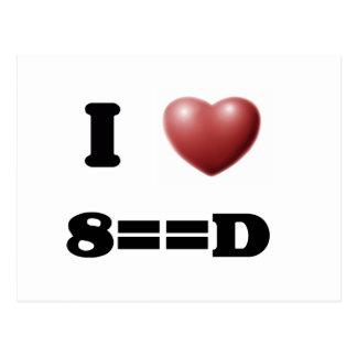 I Love 8==D Postcard
