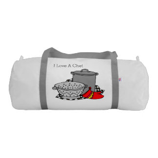 I Love A Chef Cooking Pot and Strainer Bag Gym Duffel Bag