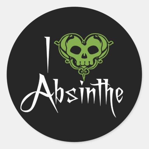 I Love Absinthe Round Sticker
