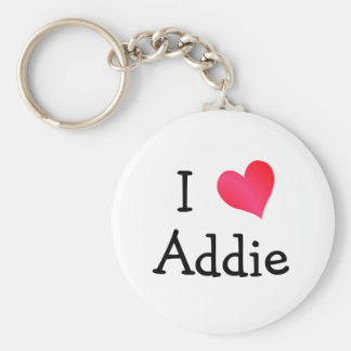 I Love Addie Basic Round Button Key Ring
