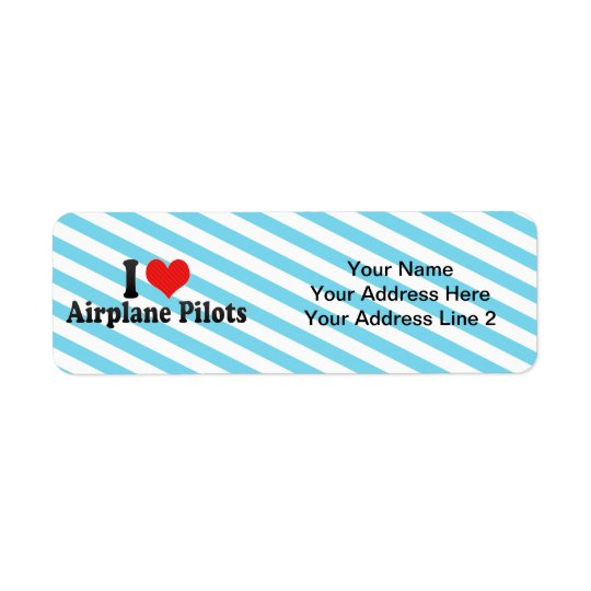 I Love Aeroplane Pilots Return Address Label