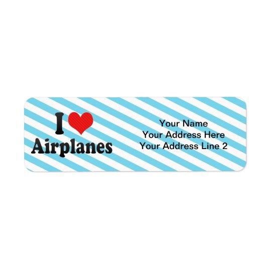 I Love Aeroplanes Return Address Label