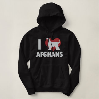 I Love Afghans Embroidered Hoodie