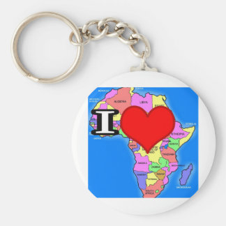 I love Africa Basic Round Button Key Ring