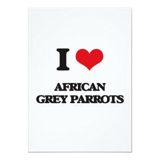 "I love African Grey Parrots 5"" X 7"" Invitation Card"