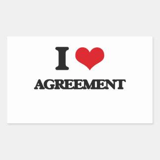 I Love Agreement Rectangular Stickers