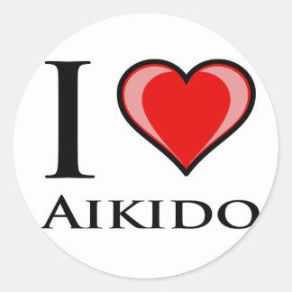 I Love Aikido Round Sticker