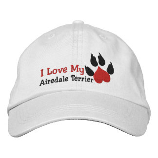 I Love Airedale Terrier Dog Paw Print Embroidered Hat