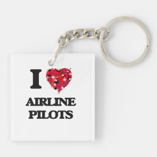 I love Airline Pilots Double-Sided Square Acrylic Key Ring