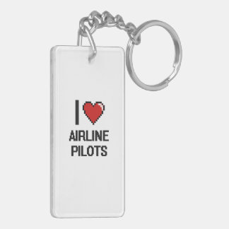 I love Airline Pilots Double-Sided Rectangular Acrylic Keychain