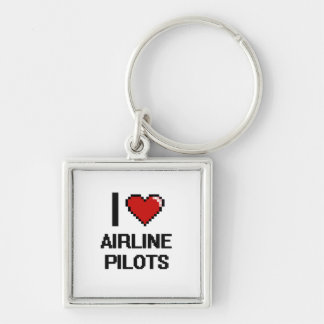 I love Airline Pilots Silver-Colored Square Keychain