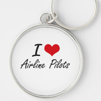 I love Airline Pilots Silver-Colored Round Key Ring