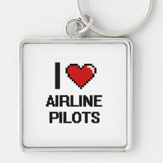 I love Airline Pilots Silver-Colored Square Key Ring