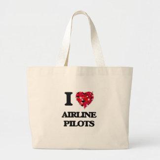 I love Airline Pilots Jumbo Tote Bag