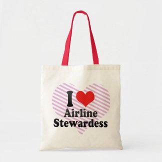 I Love Airline Stewardess Tote Bag