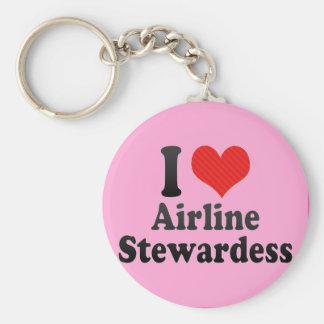 I Love Airline Stewardess Basic Round Button Key Ring