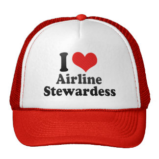 I Love Airline Stewardess Mesh Hats