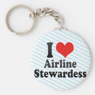 I Love Airline Stewardess Keychain