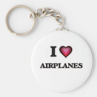I Love Airplanes Basic Round Button Key Ring