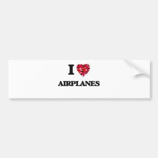 I Love Airplanes Bumper Sticker