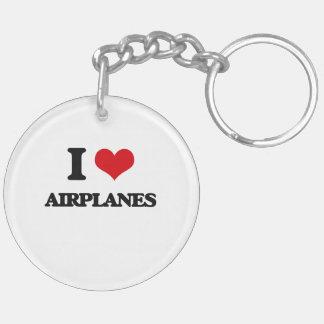 I Love Airplanes Acrylic Keychain