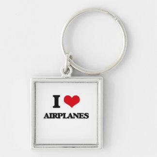 I Love Airplanes Keychain