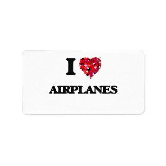 I Love Airplanes Address Label