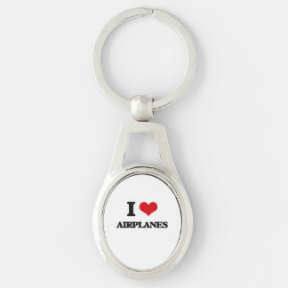 I Love Airplanes Silver-Colored Oval Key Ring