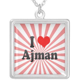 I Love Ajman, United Arab Emirates Silver Plated Necklace