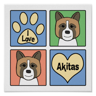 I Love Akitas Poster
