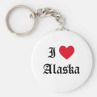 I Love Alaska Basic Round Button Key Ring