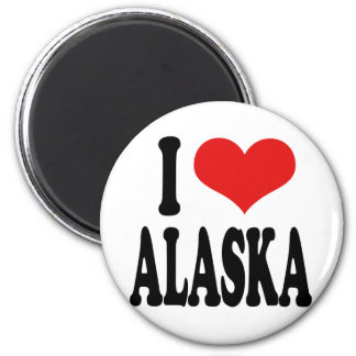 I Love Alaska 6 Cm Round Magnet