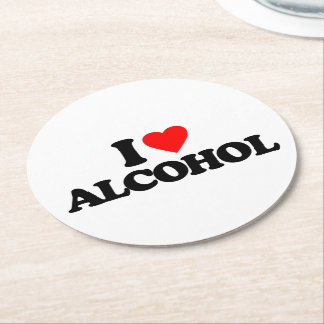 I LOVE ALCOHOL ROUND PAPER COASTER