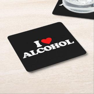 I LOVE ALCOHOL SQUARE PAPER COASTER